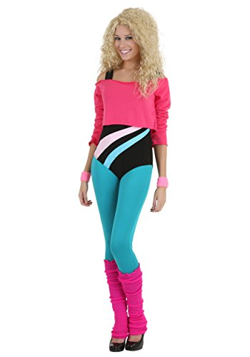 Women's 80's Workout Girl Stretch Bodysuit Costume in 3 Sizes