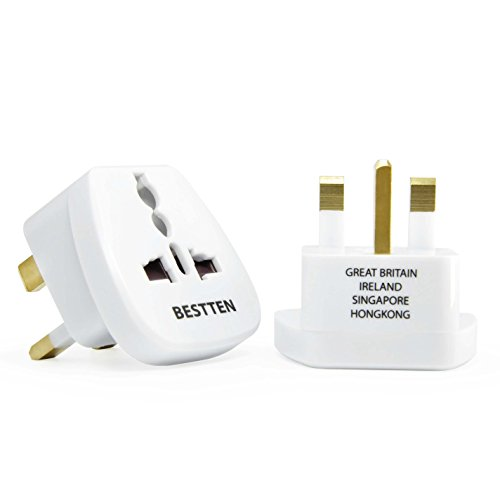 Adapter for United Kingdom, Malaysia, Singapore, Kenya, Saudi Arabia, Type G, Grounded Plug, Travel Outlet, Tamper Resistant Socket- 2 (Malawi Housing)
