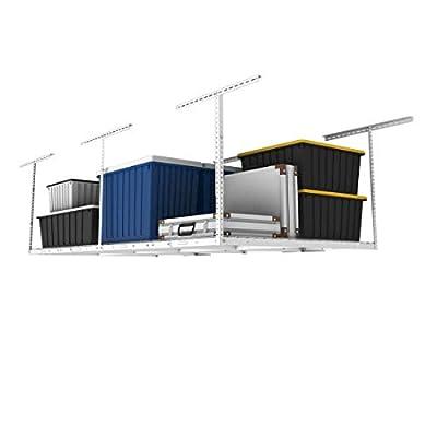 "Fleximounts 4x8 Overhead Garage Storage Rack Adjustable Ceiling Garage Rack Heavy Duty, 96"" Length x 48"" Width x (22''-40"" Ceiling Dropdown), Black and White"