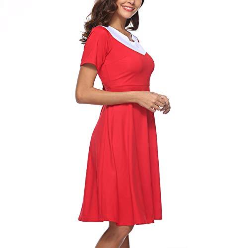 Party XXL Block tamaño una Rockabilly Red línea Tea Vestido Vintage Color de Cintura Cuello Color V Mujer Alta Twdn4x1v
