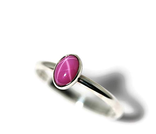 Pink Star Sapphire Ring - Oval Created Pink Star Ruby and Sterling Silver Ring