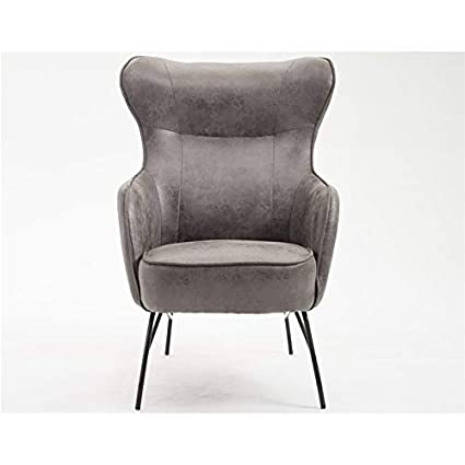 Superb Amazon Com Pemberly Row Dexter Charcoal Faux Leather Accent Inzonedesignstudio Interior Chair Design Inzonedesignstudiocom