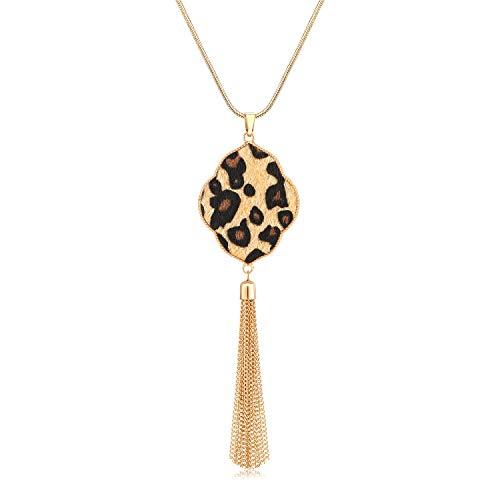 MOLOCH Long Necklaces for Woman Disk Circle Pendant Necklaces Tassel Fringe Y Necklace Set Statement Pendant (Quatrefoil-Gold-Light Leopard)