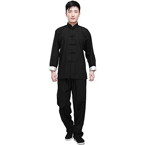 ZooBoo Kung Fu Uniform Clothing - Chinese Traditional Qi Gong Martial Arts Wing Chun Shaolin Tai Chi Taekwondo Training Cloths Apparel Clothing Pants for Man Women Arthritis - Cotton (Black, L)