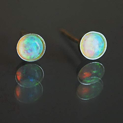 Fire Opal Stud Earrings 4mm Sterling Silver Opal Post