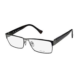 Police V8713 Mens Designer Full-rim Spring Hinges Eyeglasses/Eyewear (58-15-140, Gunmetal / Dark Tortoise)