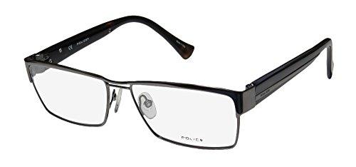 Police V8713 Mens Designer Full-rim Spring Hinges Eyeglasses/Eyewear (58-15-140, Gunmetal / Dark - Prescription Glasses Police