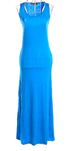 Dardugo Women Girl Modal Round Neck Slim Fit Sleeveless Evening Sport Dress Sky Blue US X-Small