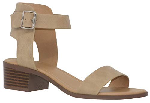 MVE Shoes Women's Single Strap Peep Toe - Open Ankle Low Heel Sandal - Chunky Heel Sandal, Camel dispu Size 8