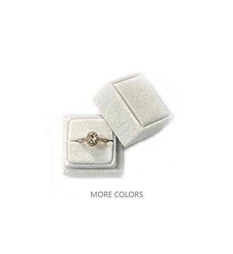 Velvet Square Single Ring Box, Photography Prop, Vintage Wedding Ceremony Ring Box Detachable Lid, Engagement, Modern Slim Ring Box Display (Rose Pink, Single Ring Box) (Ivory White, Single Ring Box)