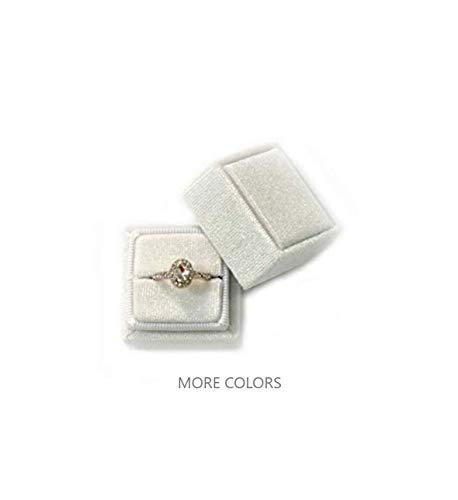 Velvet Square Single Ring Box, Photography Prop, Vintage Wedding Ceremony Ring Box Detachable Lid, Engagement, Modern Slim Ring Box Display Rose Pink, Single Ring Box (Dusty Sky Blue, Single Ring Box) (Ring Box Blue)