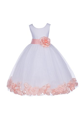 ekidsbridal White Floral Rose Petals Flower Girl Dress Birthday Girl Dress Junior Flower Girl Dresses 302s 8