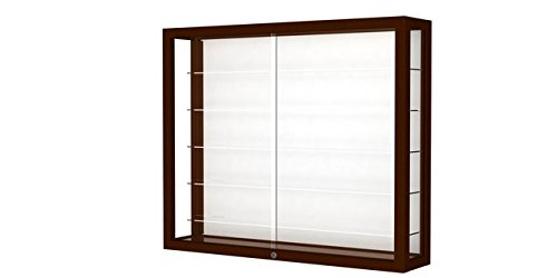 Waddell 8903M-WB-C Heirloom 36 x 30 x 8 in. Wall Case Hardwood with 5 Shelves44; White Back - Cordovan