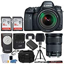 Canon EOS 6D Mark II DSLR Camera + EF 24-105mm f/3.5-5.6 is STM Lens + 32GB Memory Card + RC-6 Wireless Remote + DC59 Gadget Bag + Quality Tripod + USB Card Reader + Cleaning Kit - Complete Bundle