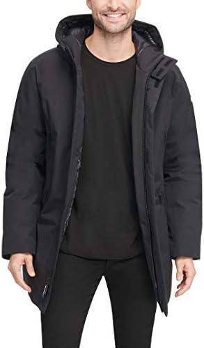 DKNY mens Water Resistant Hooded Logo Parka Jacket