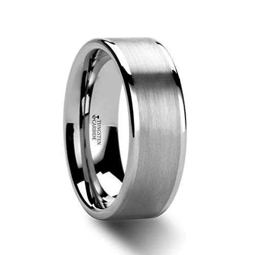 (Aires Flat Brush Finish Center Polished Edges Tungsten Carbide Ring - 8mm (9.5))