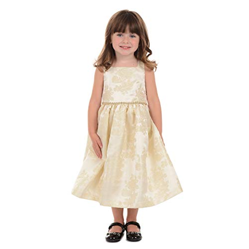 Laura Ashley London Little and Toddler Girls' Sleeveless Brocade Party Dress, Gold, 5 -