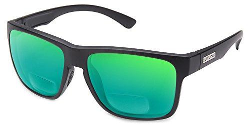 Suncloud Rambler Polarized Bi-Focal Reading Sunglasses in Matte Black / Green Mirror Lens - Rambler Sunglasses