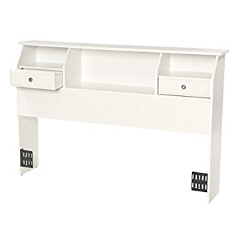 Revere Headboard with Storage Queen/Full Size Bookcase Drawers Wood White Shelves Modern Bedroom Headboard