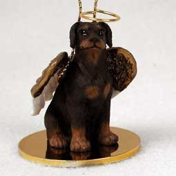 - Doberman Pinscher Angel Dog Ornament - Uncropped Ears - Red by Conversation Concepts