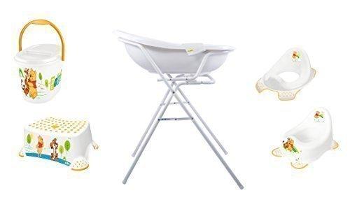 Windeleimer Waschhandschuh Topf WC Aufsatz 7er Set Disney Winnie Pooh wei/ß Badewanne 84 cm Hocker Badewannenst/änder