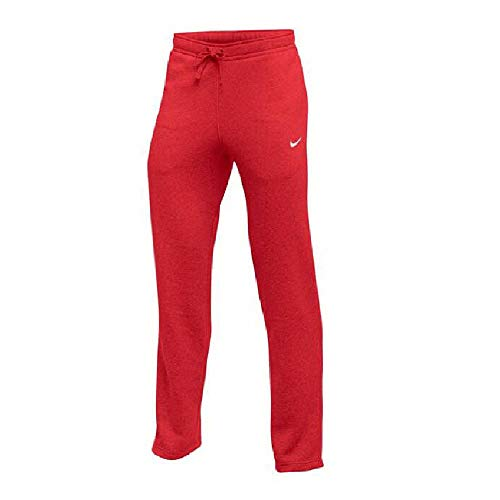NIKE Mens Club Swoosh Fleece Open Hem Sweatpants Scarlet - Pant Fleece Nike Mens