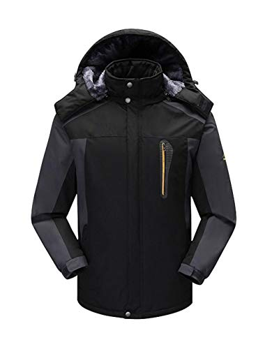 Men's Black jacket Fleece Waterproof Ski Jacket and warm outdoor Autumn Windproof winter PqUrvBWPn