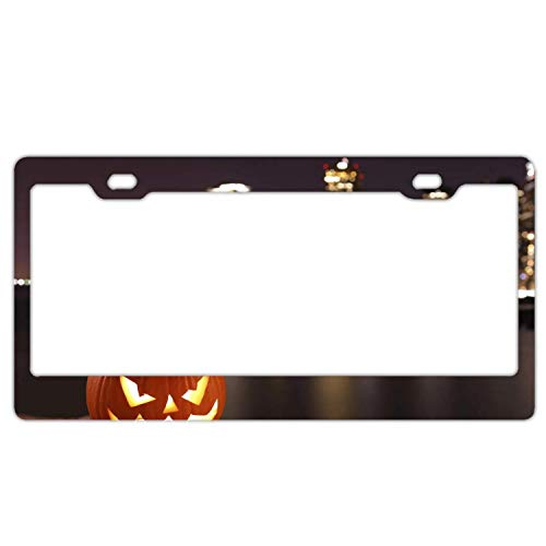 YEX Abstract Halloween Pumpkin Face8 License Plate Frame Car Licence Plate Covers Auto Tag Holder 6