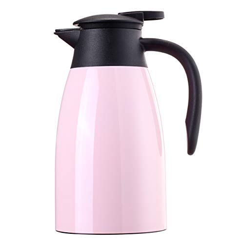 Sumerflos 1.5L/50 Oz Thermal Coffee Carafe - Double Wall Stainless Steel Vacuum Insulated Thermos - Leak Proof Lid with Dust Cover - Cool Touch Handle - Heat and Cold Retention (Pink)