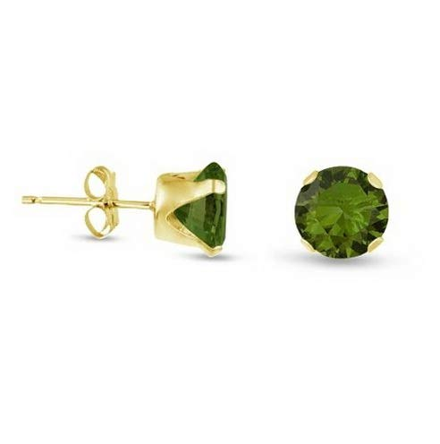 Campton Round Olive Green CZ Gold Plated Sterling Silver Stud Earrings - Choose Size | Model ERRNGS - 14416 | 8mm - 2XL - Medallion Horse Earrings Sterling Silver