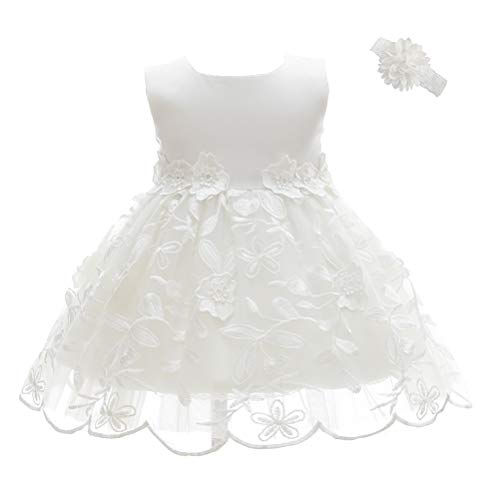 Moon Kitty Baby Girls Party Dresses Embroidery Christening Baptism Gown for Baby Girl -