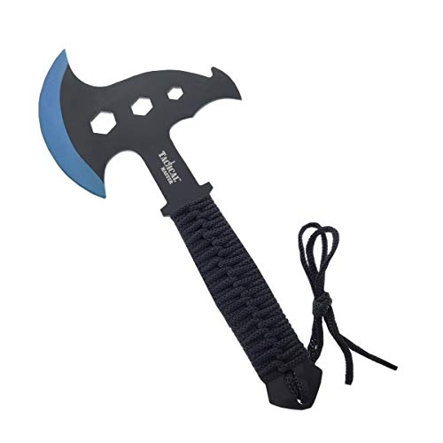 Tactical Survival Tomahawk Throwing Axe and Throwing Knife with Sheath Set. Camping Hunting Fishing Survival Axe Hawk Hatchet (Blue) by Tactical Master (Image #1)