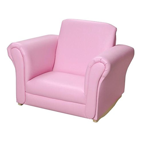 Gift Mark Upholstered Rocking Chair,Pink (Pink Upholstered Rocking Chair)