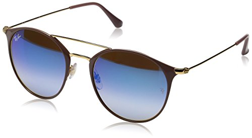 Ray-Ban Steel Unisex Round Sunglasses, Gold Top Beige, 49 - Beige Ban Clubmaster Ray