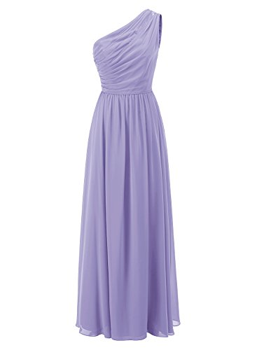 ALAGIRLS One Shoulder Chiffon Bridesmaid Dresses Ruched Long Wedding Party Gowns Lavender US14