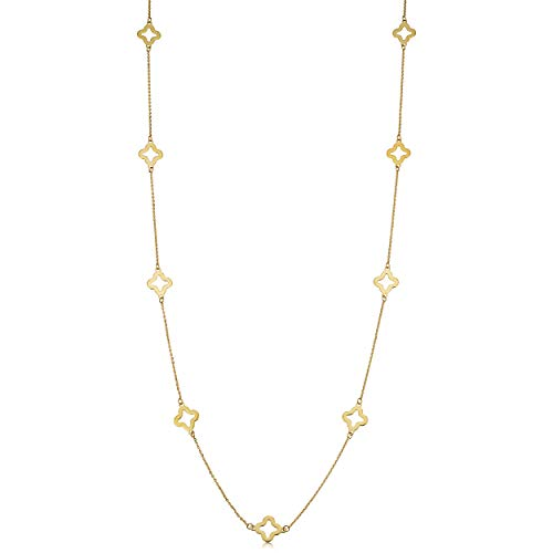 Kooljewelry 14k Yellow Gold Clover Flower Station Necklace (26 inch)