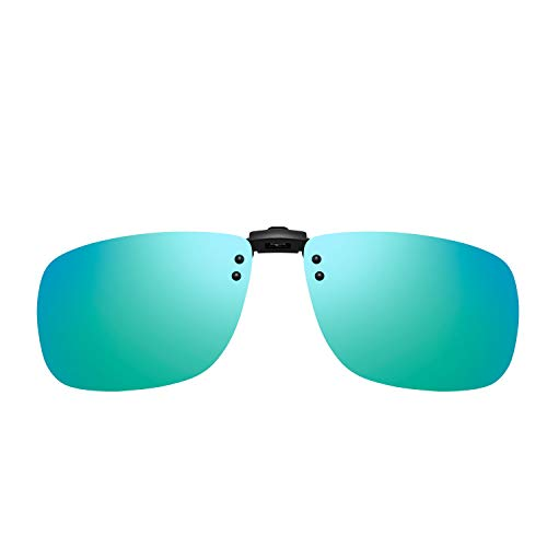 (Tacloft Unisex Rectangle 57mm Polarized Clip on Sunglasses CLIPON2015 Perfect for Driving (Green2019, 60))