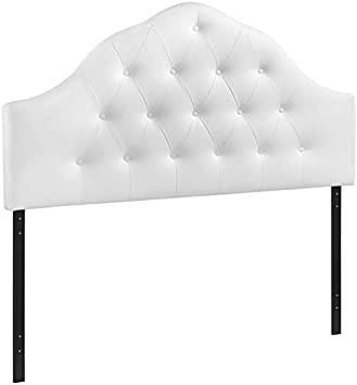 Hawthorne Collection King Vinyl Tufted Panel Headboard in White