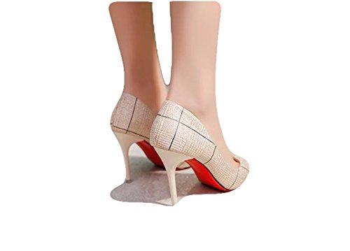 Ein bißchen Sommer Herbst Damen High Heels Pumps Bunt Mosaik PU OL Business Arbeitschuhe Beige