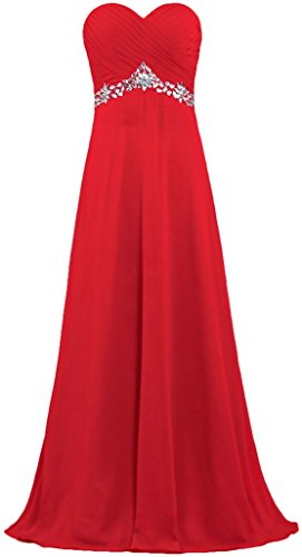 Bridesmaid Dresses Chiffon Prom Women's Red Bead Dress Bridal Long Anna's q4atXYw
