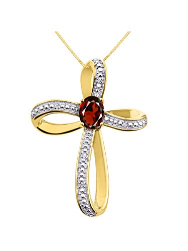 Diamond & Garnet Cross Pendant Necklace Set In Yellow Gold Plated Silver .925 with 18