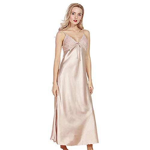 New Sexy Ladies Long Satin Nightgown Women Night Dress Spaghetti Strap Lace Patchwork Sleeveless Sleepwear Dresses Camisones L Beige