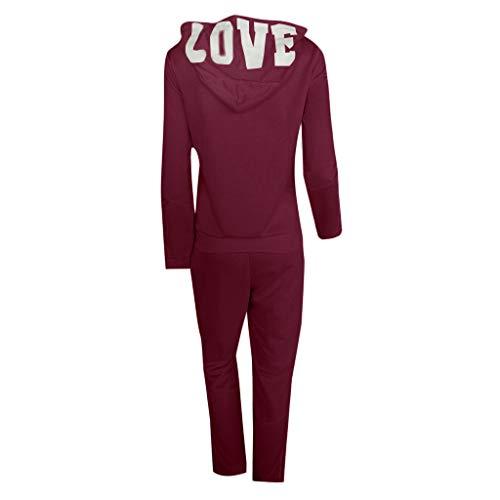 Casual Womens Hoodies Stripe Zipper Long Sleeves Pullover Sport Tops+Long Tracksuit Sweatshirt Pants Set by iLUGU (Image #3)