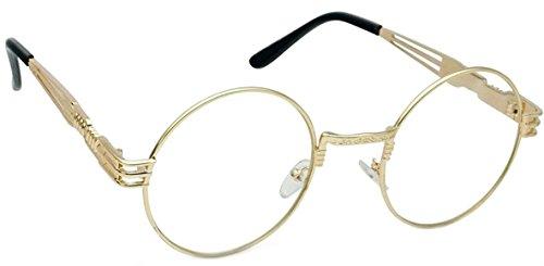 WebDeals - Round Circle Metal Sunglasses Vintage Steampunk Bold Frame Design (Gold, Clear XL, -