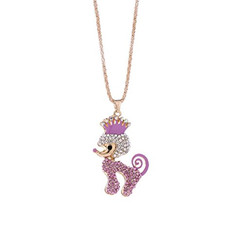 Engagement Pendant Necklace (Fashion Charm Crystal Rhinestone Dog Necklace, Unpara Women Bridal Engagement Cute Pendant Sweater Necklace For A Gift (Pink))