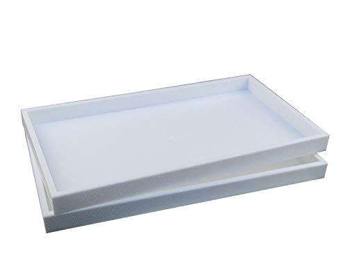 2 Piece 1-Inch Deep Full Size White Plastic Stackable Jewelry Tray 14 3/4
