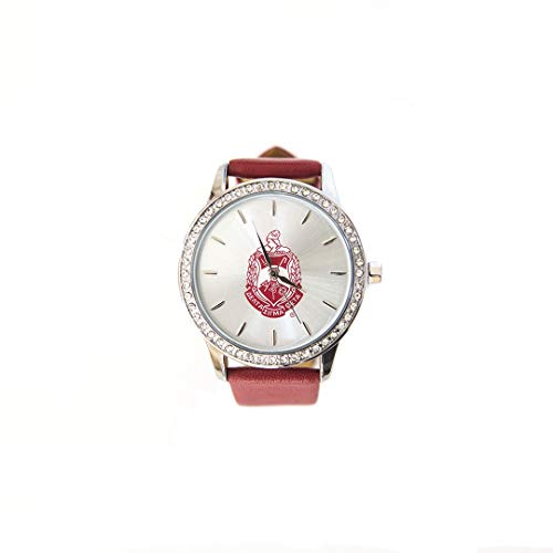 Delta Sigma Theta Sorority Red Leather Band Watch With Shield ()