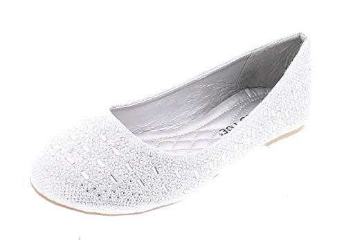 Karma Womens Sparkle Dress Shoes,Cute Rhinestone Ballet Flats for Women, Wedding Bridal Flat Dressy Shoe Silver 8 M US