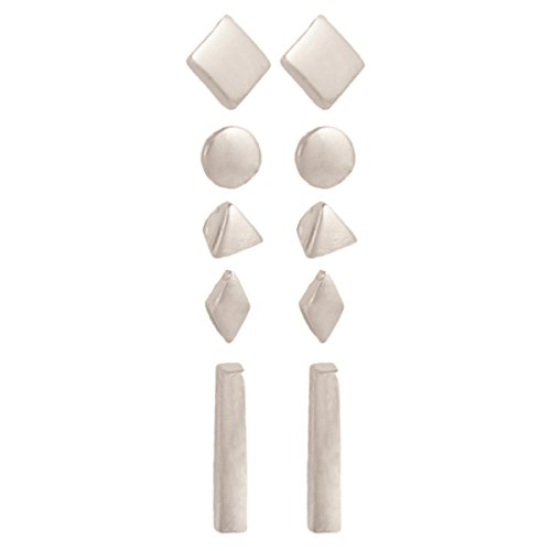 Zen Styles Silver Tone Geometric Post Earrings Set of 5 - Plated Metal Fashion Earrings in Diamond, Circle, Triangle, Square, Bar Shapes. Fashion Jewelry (Set Stud Earring Tone)