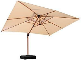 PURPLE LEAF 10' X 13' Double Top Deluxe Wood Pattern Rectangle Patio Umbrella Offset Hanging Umbrella Outdoor Market Umbrella Garden Umbrella